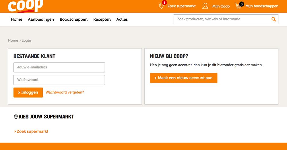 stap 1 - registeren op coop-nl